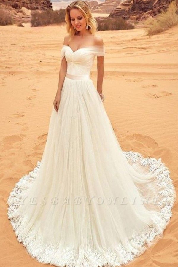 Simple Off-the-Shoulder Wedding Dresses | A-Line Backless Lace-up Bridal Gowns