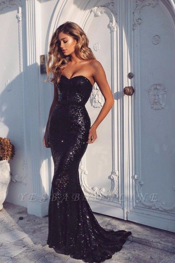 Black Sequins Mermaid Prom Dresses Sexy Sweetheart Neck Evening Gowns BA4554