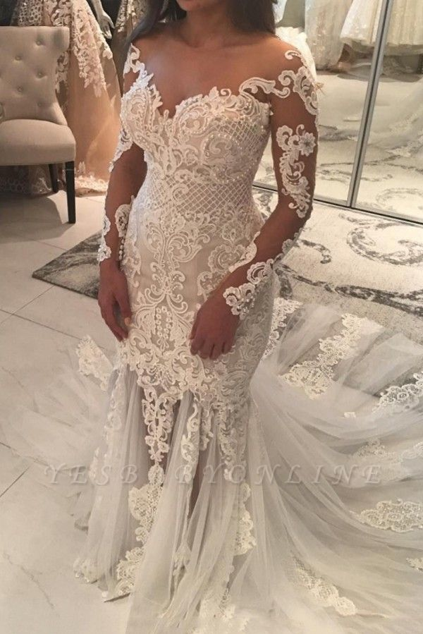 Sparkly Mermaid Long Sleeves Wedding Dresses | Off-the-shoulder V-neck Appliques Bridal Gowns