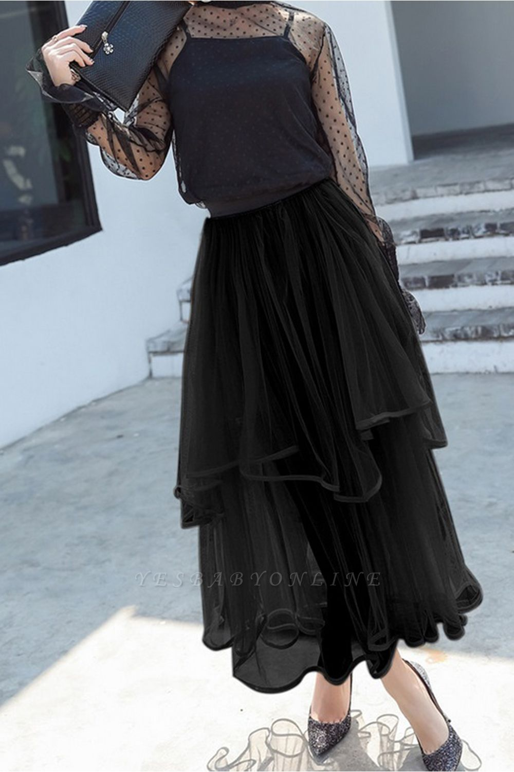 Beatrice   Black Tulle Skirt with Layers