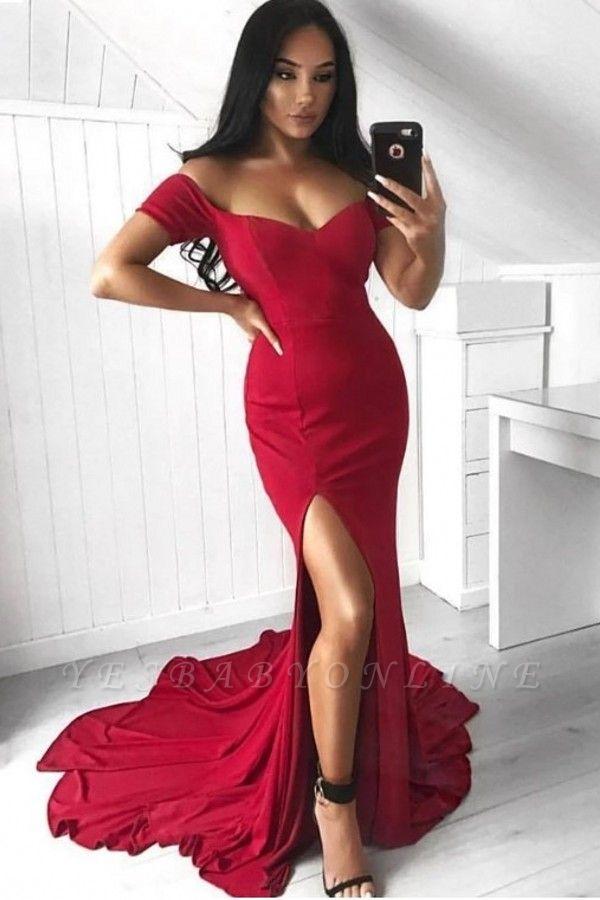 Long Mermaid Split Off-the-Shoulder Sexy Prom Dress
