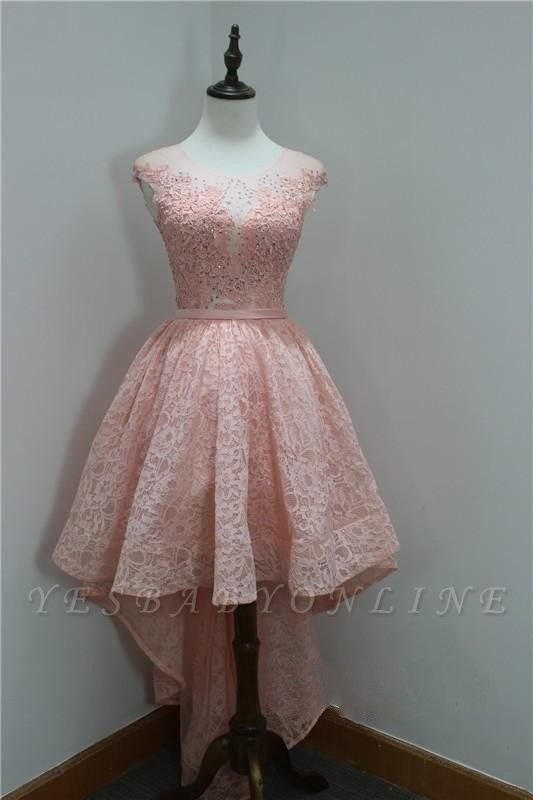 Short Beadings Appliques Lace Hi-Lo Elegant Sleeveless Homecoming Dress