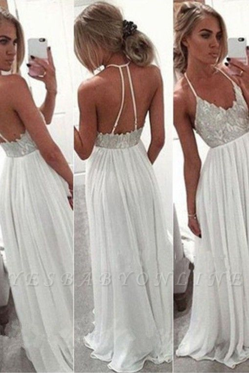 A-Line Lace  Open-Back Spaghetti-Strap Summer White Long Prom Dress