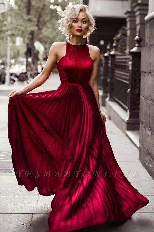 Jewel Sleeveless Dresses Sheath Floor Burgundy Length Prom Pleats Evening Dresses
