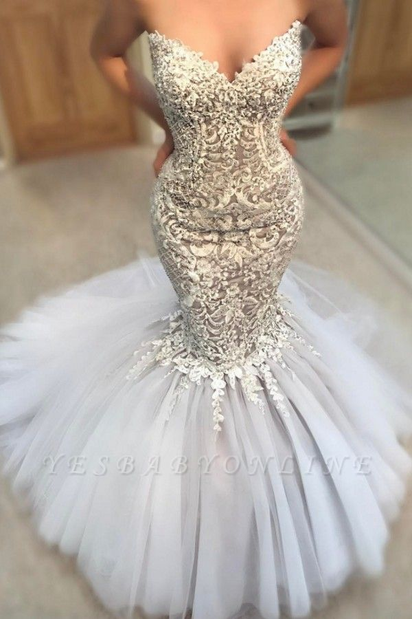 Exquisite Appliques Mermaid Wedding Dresses | Sweetheart Neck Tulle Skirt Bridal Gowns