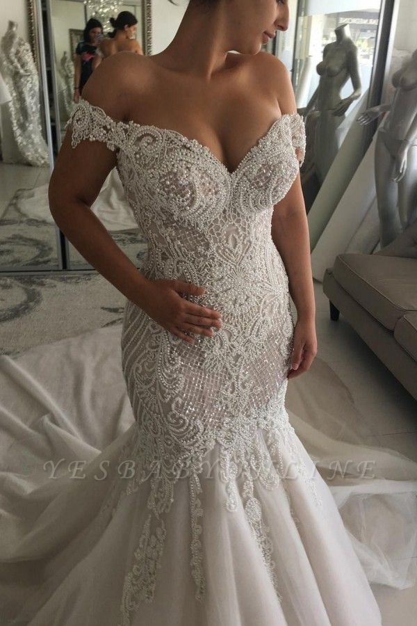 Glamorous Beaded Mermaid Wedding Dresses | Off-the-Shoulder Backless Bridal Gowns
