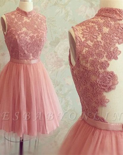 High-Neck Appliques Newest Mini Sleeveless Lace Homecoming Dress