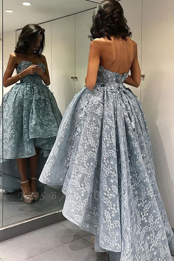 2019 Ball Gown High-Low Prom Dresses Sleeveless 3D Floral Appliques Evening Gowns