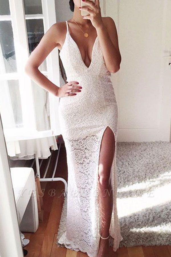Front-Split Sexy Spaghetti-Strap Mermaid Lace Prom Dress