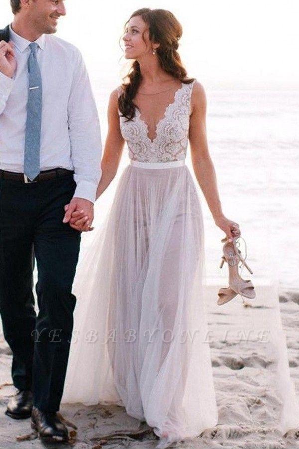 Glamorous Sleeveless Floor-Length Scoop Lace Tulle Wedding Dresses