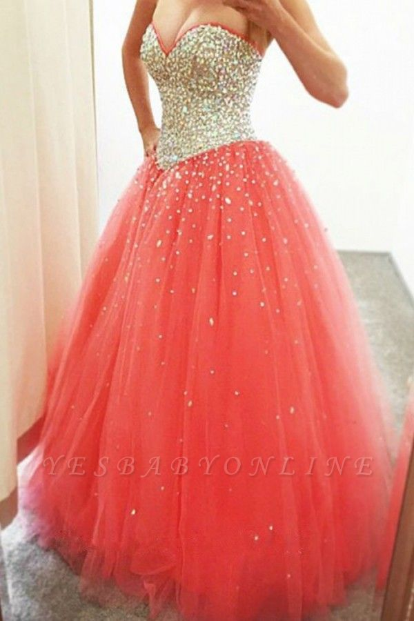 Crystals Cheap Puffy Sparkly 2019 Sweetheart  Quinceanera Dresses