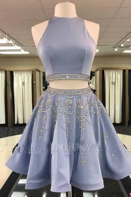 Two-Pieces Short Sleeveless A-line Gorgeous Crystal Homecoming Dress