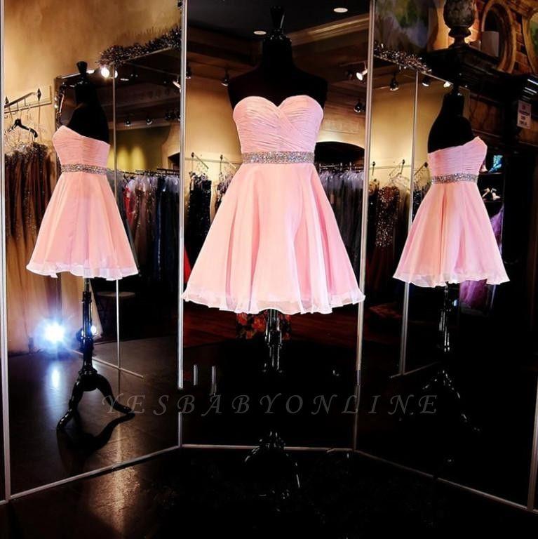 Cheap Short Sweetheart Simple Ruffles A-Line Crystal Homecoming Dress