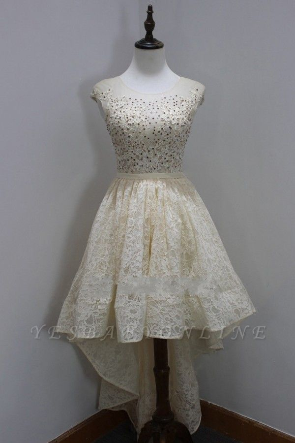 A-Line High-Low Scoop Newest Sequins Homecoming Lace Sleeves Cap Dresses Prom Dresses