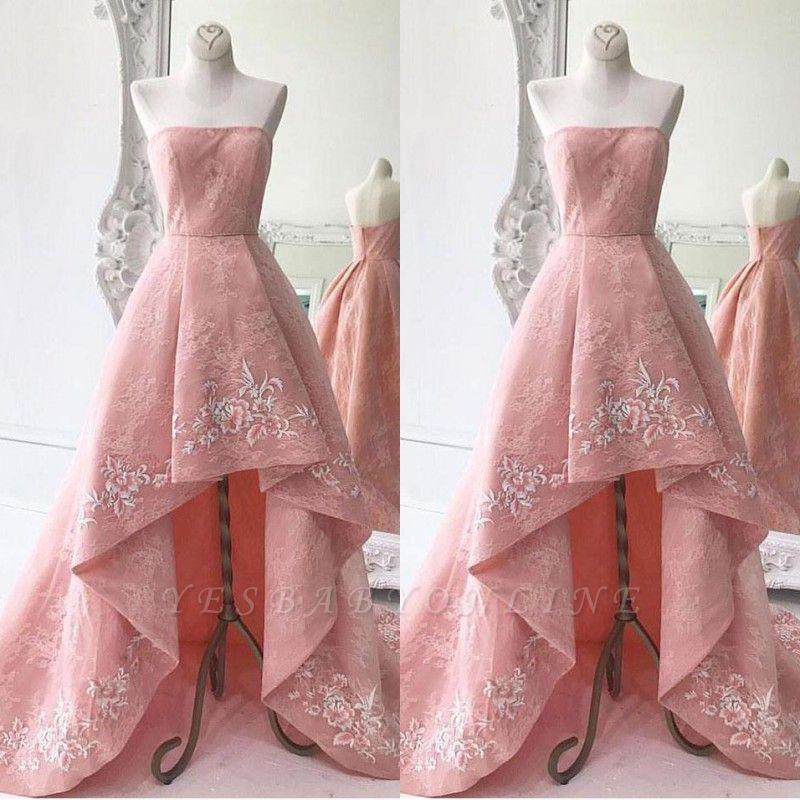 Lace High-Low Strapless Exquisite A-Line Embroidery Prom Dresses