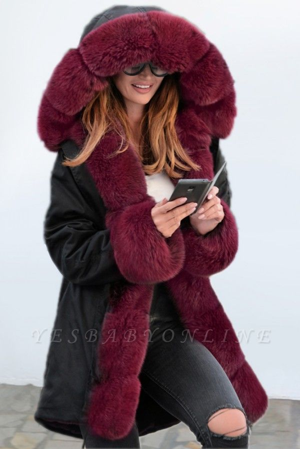 Premium Fur Trimmed Parka Coat with Faux Fur Hood