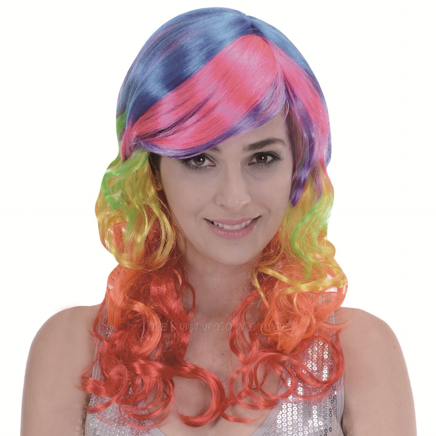 Rainbow Long Wavy Curly Wig for Women