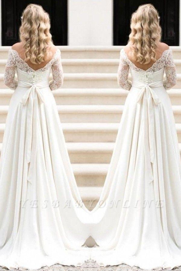 Fall Sash Bateau-Neck Glamorous Bow A-line Long Sleevess Lace Wedding Dresses