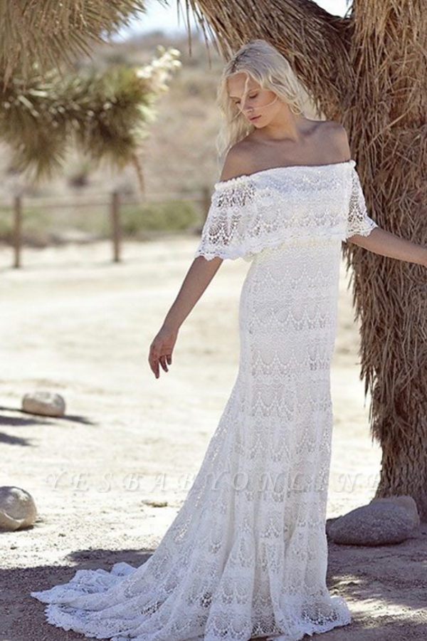 Off-the-shoulder Glamorous Lace White A-line Sweep Train Wedding Dress
