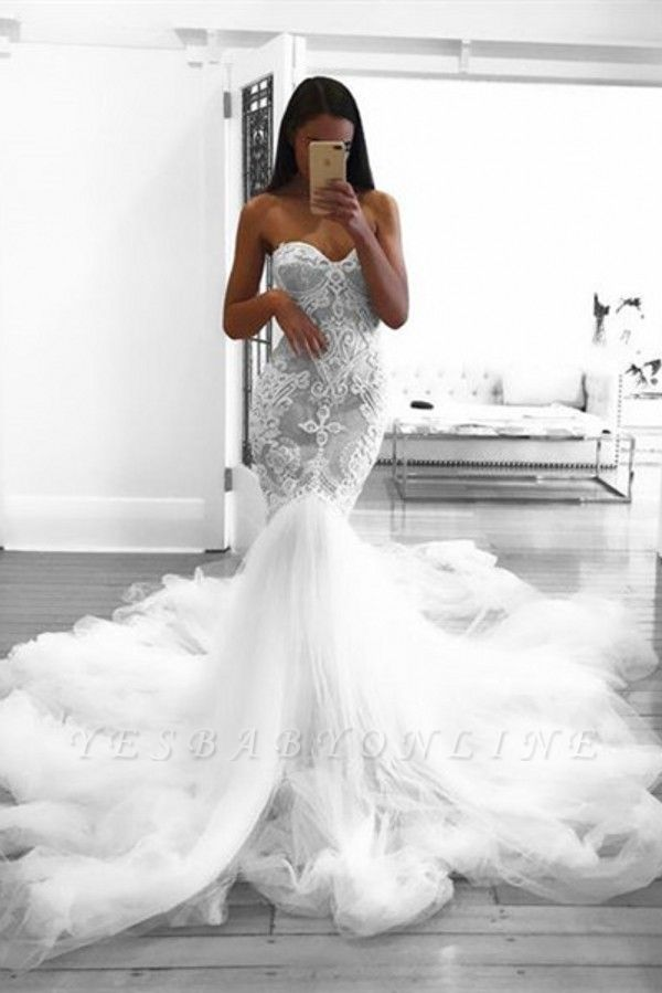 Romantic Sweetheart Lace White Wedding Dress | Sexy Mermaid Bridal Gowns