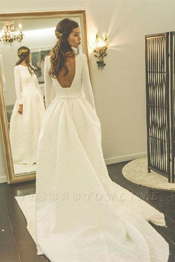 Long Sleeves Jewel A-line Modern Sweep Train Wedding Dress