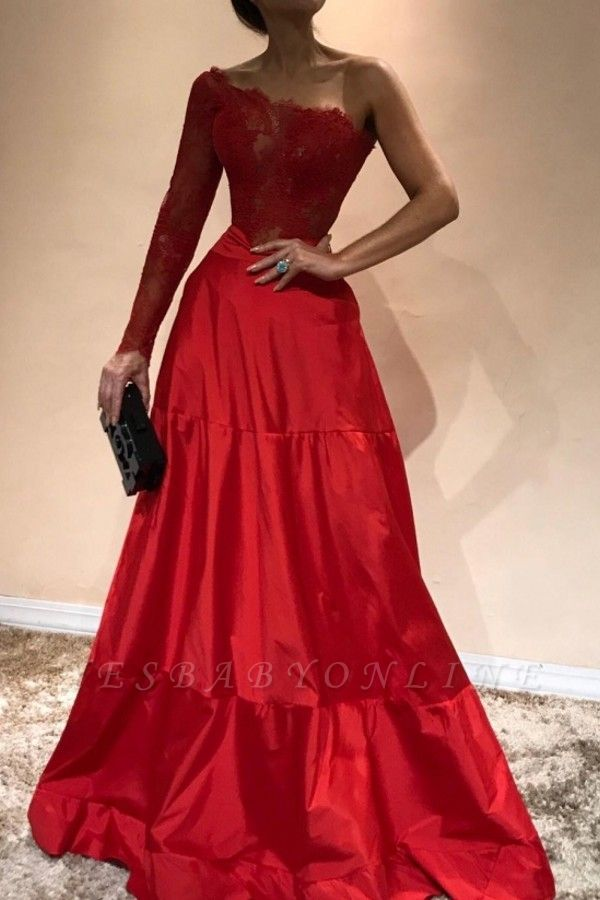 Elegant Mermaid Appliques Prom Dresses | A-Line One-Shoulder Red Evening Gowns