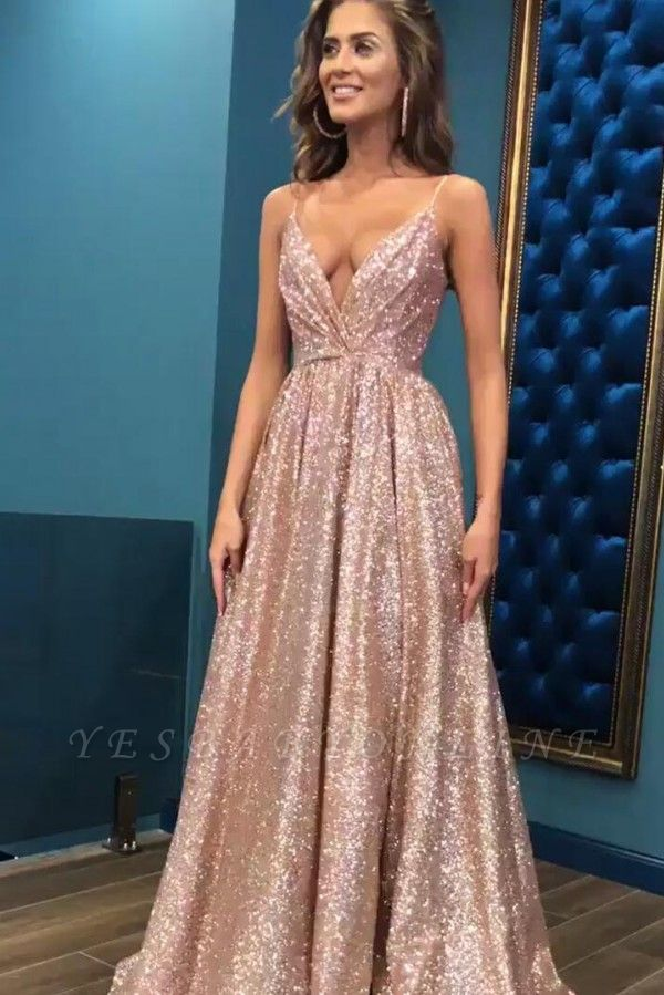 Sexy Sequins Simple Spaghetti Straps Evening Dresses | 2019 Cheap Open Back Sleeveless Prom Dress BC0494