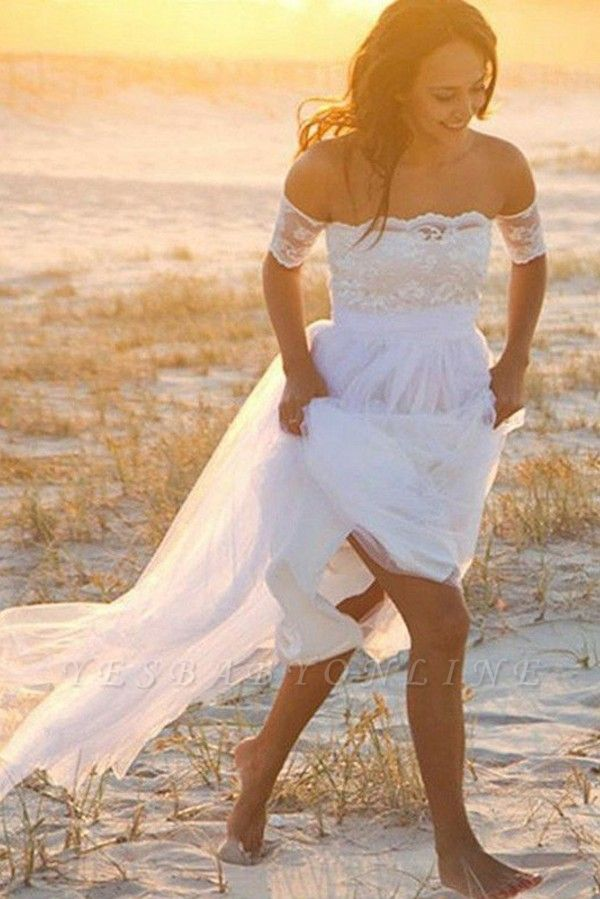 Sleeveless Floor-Length Off-the-Shoulder Lace Chiffon Wedding Dresses