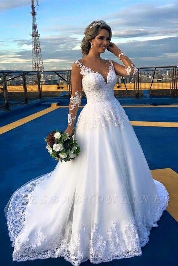 Appliques Lace Glamorous Long Sleeves A-Line V-Neck Wedding Dress