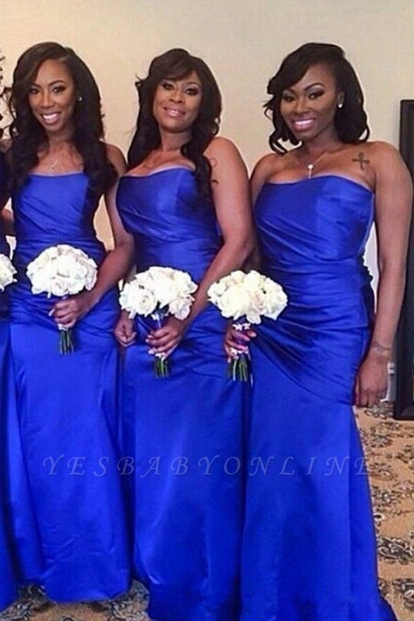 Elegant Floor-Length Ruched Royal-Blue Long Strapless Bridesmaid Dress