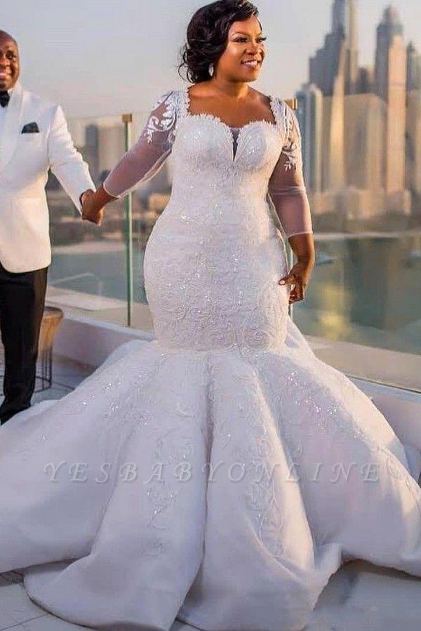 Charming Mermaid Lace Wedding Dresses | Chapel Train Long Sleeves Appliques Bridal Gowms