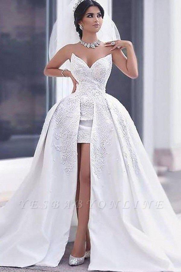 Sleeveless Chapel Train Sweetheart Beaded Satin Puffy Wedding Dresses