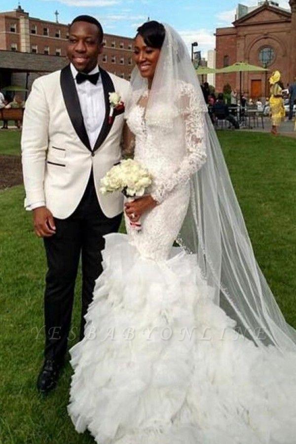 Long-Train Exquisite Lace-Appliques Ruffles Mermaid Wedding Dress