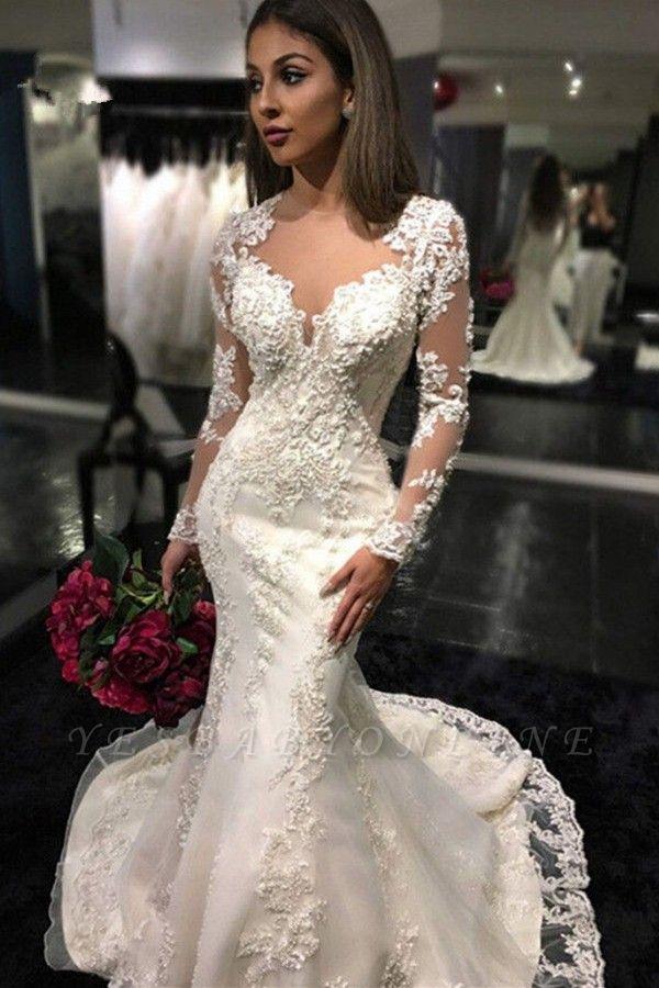 Mermaid Sheer-Back Long-Sleeves Charming Mermaid Tulle Appliques Bridal Dresses