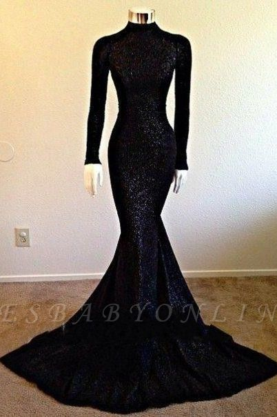 Black Long-Sleeve Modest Mermaid High-Neck Prom Dress