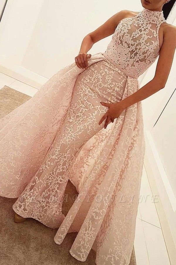 Illusion Unique Lace Sheath Puffy Sleeveless Popular High-Neck Overskirt Prom Dress