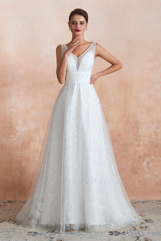 Floor Length Straps V-neck Backless A-line Wedding Dresses | Cheap Tulle Bridal Gowns