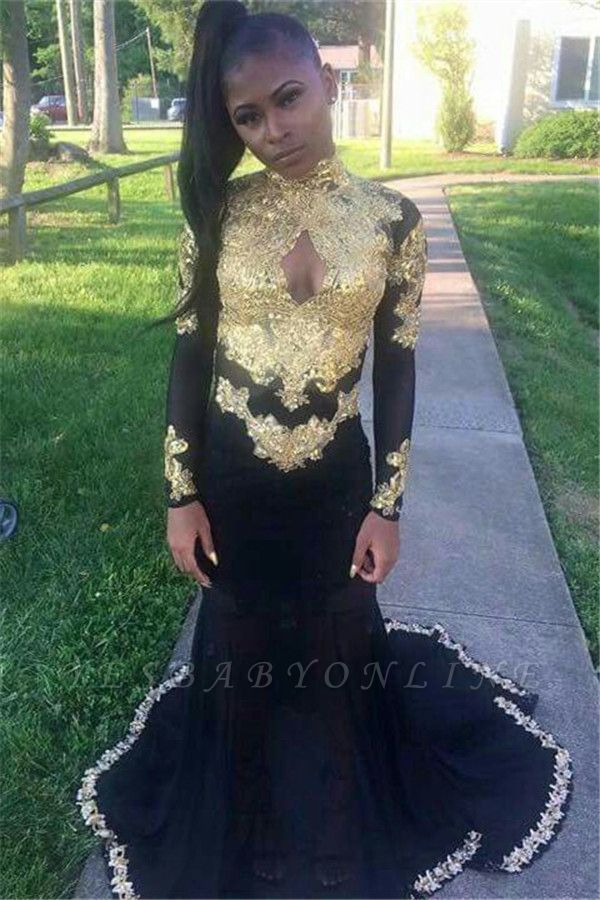 Black Mermaid Long-Sleeve Gold-Appliques Keyhole Sexy Prom Dress