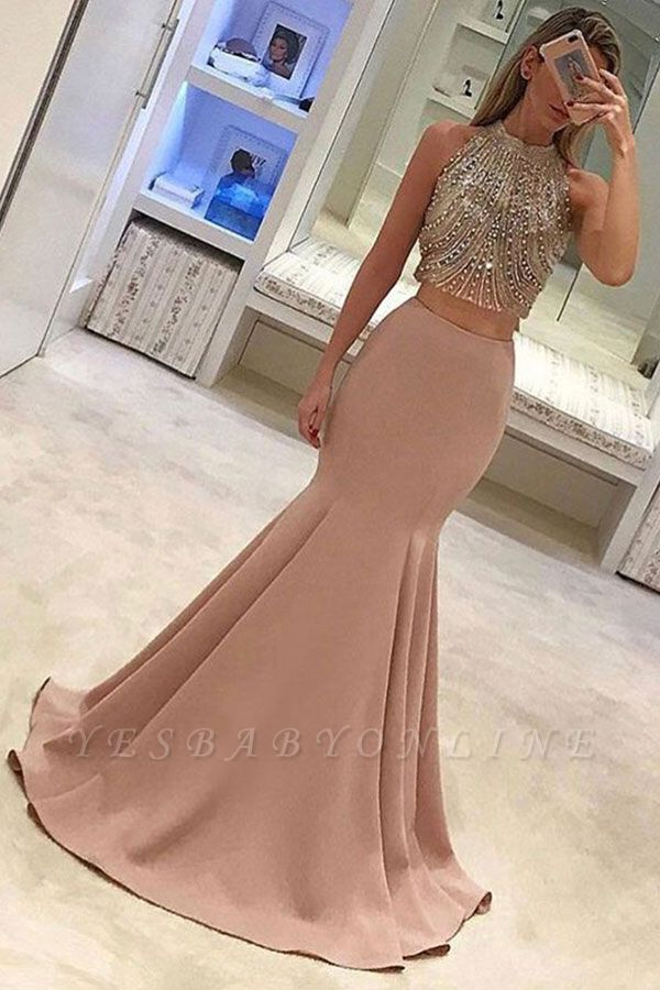 Gorgeous Two-Piece Mermaid Prom Dresses Pink Beads Sleeveless Long Evening Gowns