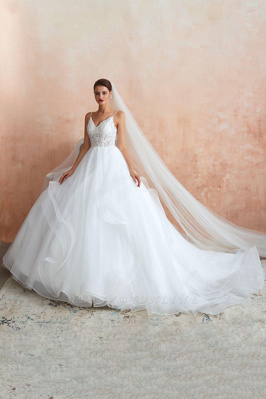 Spaghetti Straps V-neck Lace Organza Tiered A-line Sexy Wedding Dresses