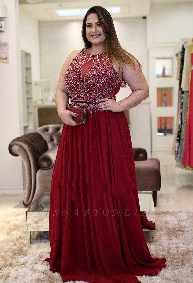 Plus-Size Rhinestones Burgundy  Vintage Jewel A-Line Prom Dresses
