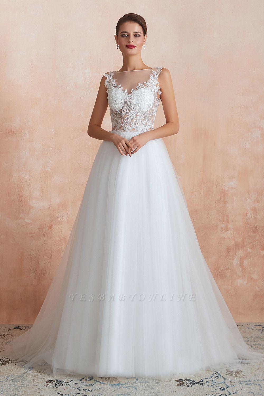 Sheer Top Bateau Sleeveless Floor Length A-line Tulle Wedding Dresses