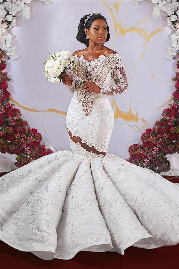 Glamorous Off-the-shoulder Ruffles Applique Beaded Mermaid Wedding Dresses with Long Sleeves