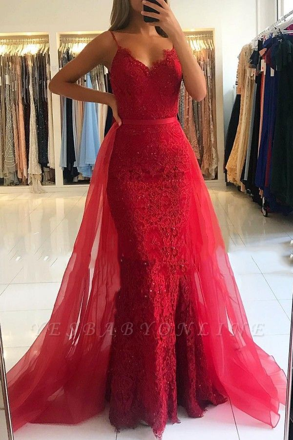 Red Sheath Spaghetti Straps Prom Dresses 2019 | Sexy Lace OverSkirt Evening Dress