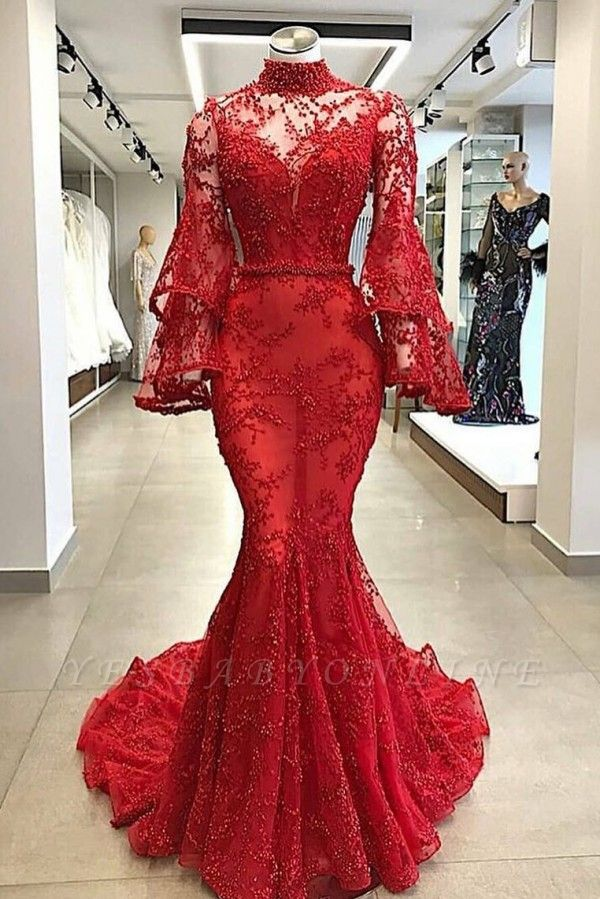 High Neck Long Sleeves Mermaid Beading Applique Chapel Train Long Prom Dress