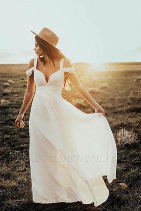 Short Sleeves Ruffles Chiffon Wedding Dresses |Stunning V-neck Straps Floor-Length Bridal Gowns