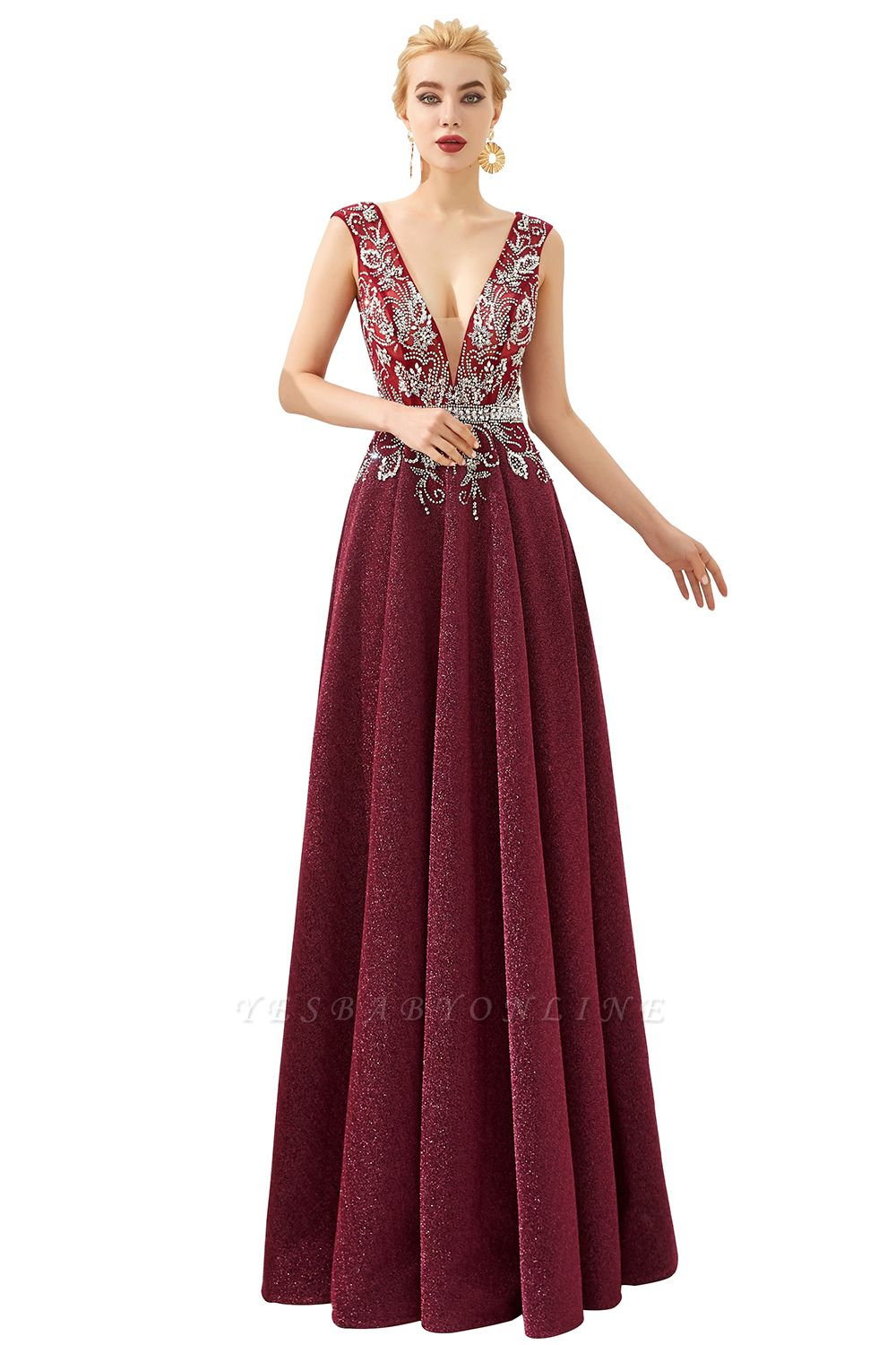 Straps Deep V-neck Beaded Sexy Long Prom Dresses | Elegant Floor Length Evening Dresses