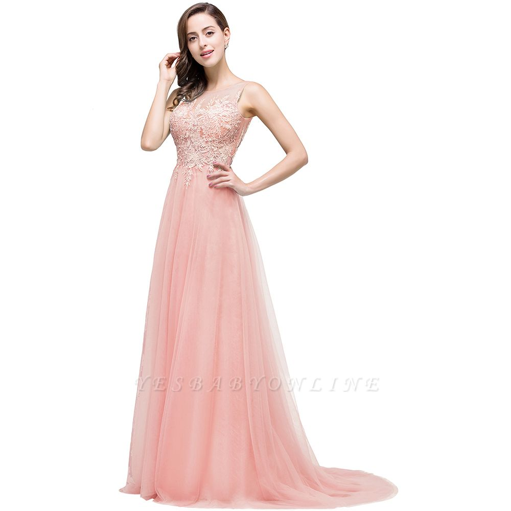 Cheap A-line Court Train Tulle Evening Dress with Appliques in Stock