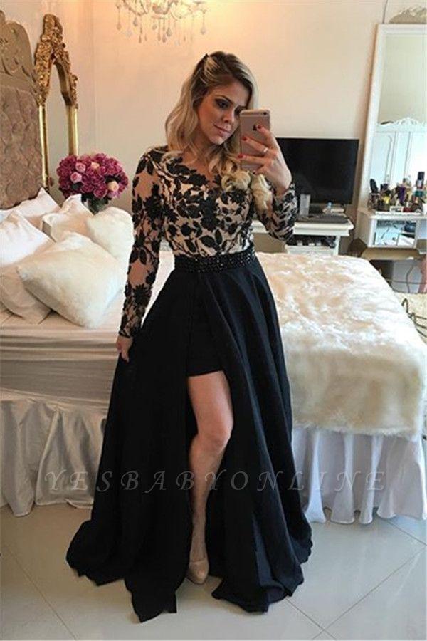 Appliques Detachable Skirt Sheath Black Short Homecoming Dresses with Long Sleeves