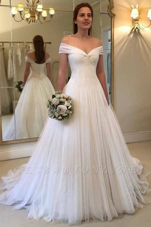 Simple A-Line Off-The-Shoulder Wedding Dresses | Ruched Tulle Bridal Gowns